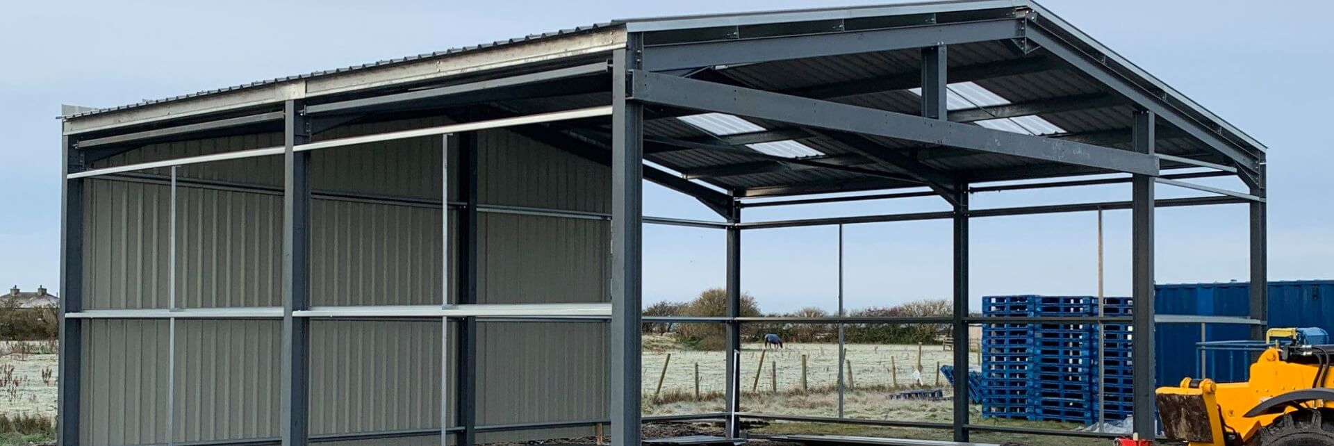 Constructed Steel Framed Building in Agricultural Environment