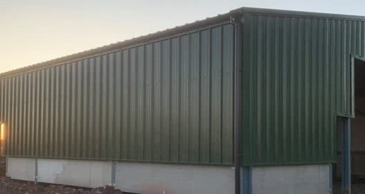 Steel Framed Building - Green Metal Cladding